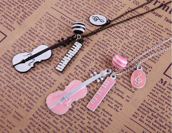 Min.order is $15(mix order)Korean Jewelry Wholesale Explosion Models Multi-element Guitar Notes Necklace Sweater Chain-2120
