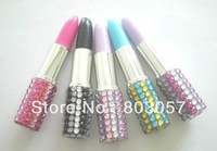 2013 Promotion Free shipping Fedex(100pcs/lot) Lovely Lipstick diamante ballpoint pen (Mixed colors)