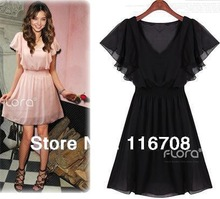2013 hot selling Women's Short sleeve Party Casual beading Pattern Mini Dress Ladies New Sexy Chiffon Dress ds090(China (Mainland))