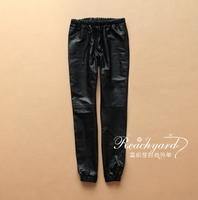 Genuine leather sports pants loose pants trousers sheepskin casual pants elastic waist