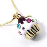 Free ship fashion color 18K gold 3D cupcake pendant necklace