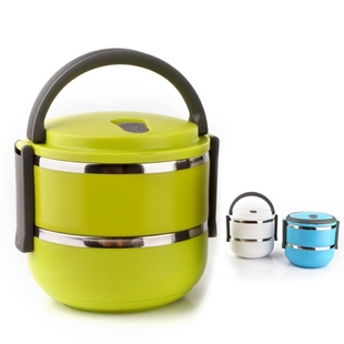 2013 New Arrival Double Layer Stainless Steel Children Lunch Box 1.4L Keep Warm Food Container For Kids