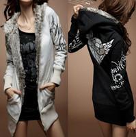 2013 women's autumn winter 5115 print with a hood medium-long sweatshirt outerwear