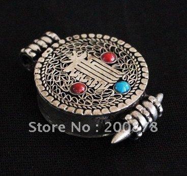 TGB069 Tibetan amulets KALACHAKRA Prayer Box,22mm,Nepal buddhist arts,GAU pendants(China (Mainland))