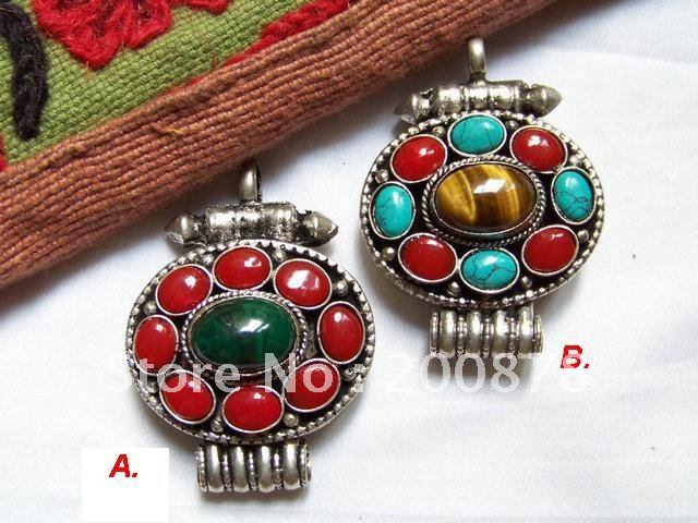 TGB123 Tibetan silver round Lady Prayer box,Nepal natural stone pendants,GAU amulets,40*34mm,mix order(China (Mainland))