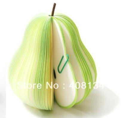 #2 Green pear Free shipping, many styles for choice, 100 pcs Megrante Fruit Memo Pad Green Pear Notepad Christmas gift(China (Mainland))