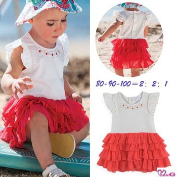 Md single girl child short-sleeve colorant match layers of cake one-piece dress hat