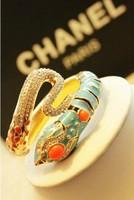 Day Gift Retro Pop Blue Gold Crystal Snake Bracelet Bangle Gold Bracelet Free Shipping