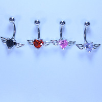 Medical steel zircon umbilical ring umbilical nail navel ring fashion personality of love