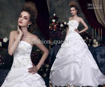 Sexy Strapless A Line Sweep/Brush Satin Fold Beaded Standard code wedding dresses
