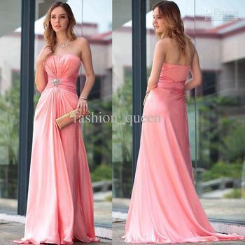 Simple Sheath/Column Strapless Floor length Fold Satin Standard code Evening Dresses