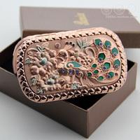 Free shipping, Portable makeup mirror portable folding vanity mirror women's mini mirror mirror peacock