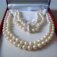 "New Fashion Jewelry Set Beautifu Rare2 Rows 8-9 MM AKOYA SALTWATER PEARL NECKLACE 17-18"" free shipping"