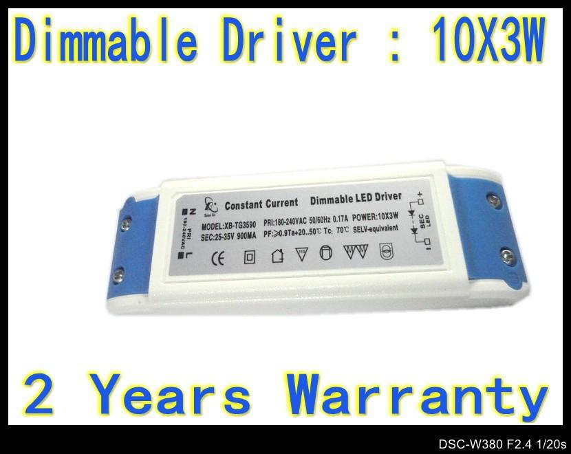 2pcs/Lot Dimmable 30W 10 X 3W led driver lamp Transformer AC 220V Drivers AC 180V - 265V LED Ceiling Lamp down light(China (