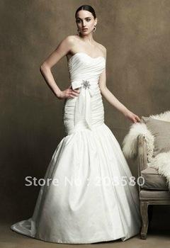 Simple cheap strapless taffeta mermaid bridal dresses wedding gowns court train W283