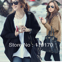 Free shipping 2014 spring women's batwing sleeve cape plus size cardigan sweater outerwear female vintage 6006#
