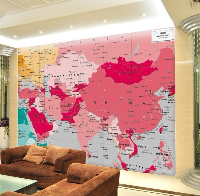 2013hotMaterial factory large mural / map of the world in English / sofa wallpaper Wallpaper / living room backdrop(China (Mainland))