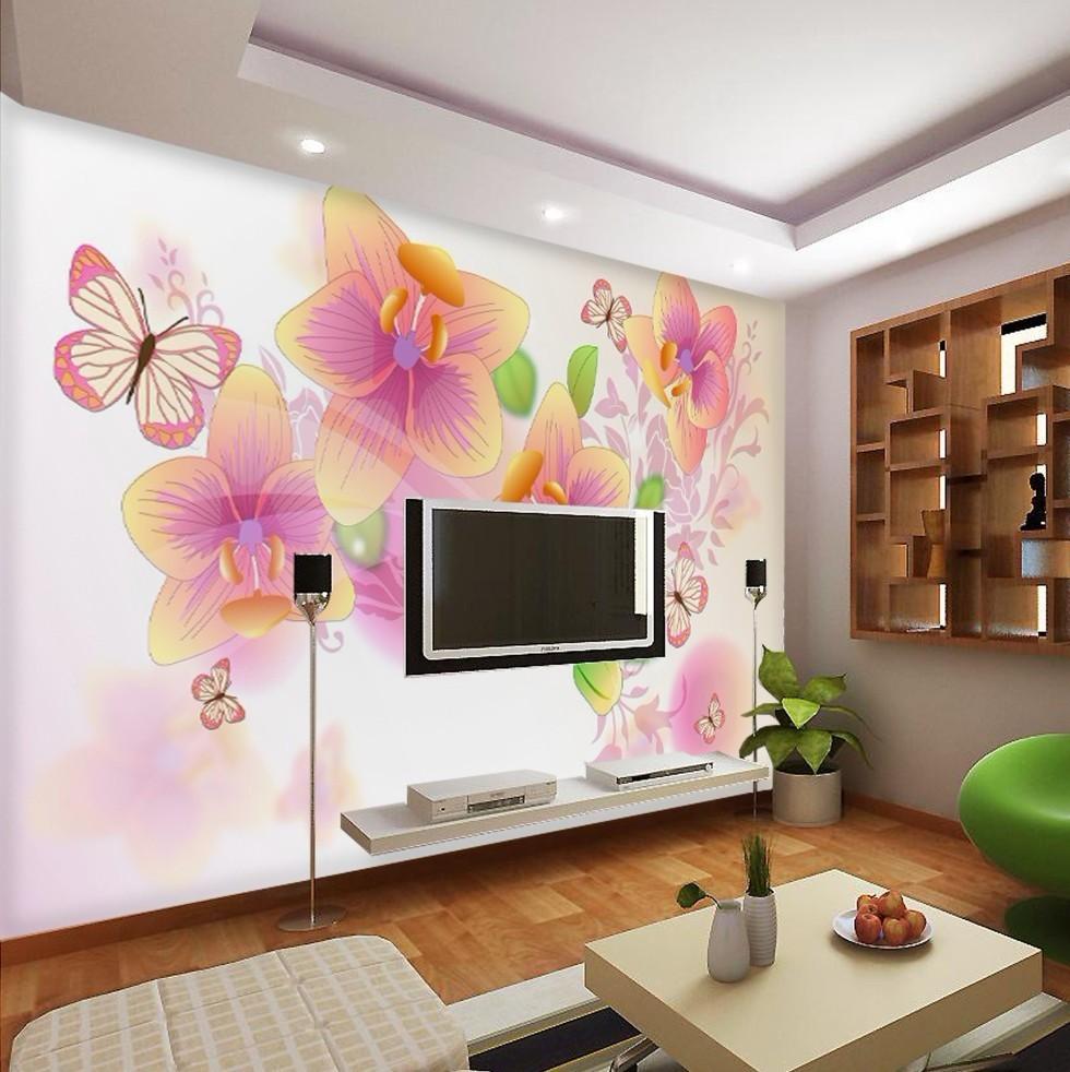 pink butterflies and flowers bedroom wallpaper wallpaper tv backdrop