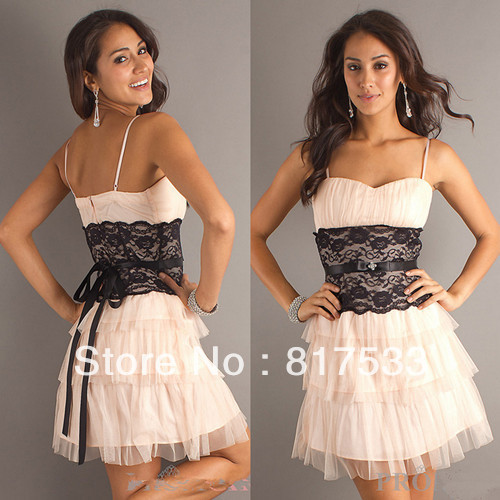 wedding guest dresses semi formal gown cocktail party dress black lace waistband silk ribbon short spaghetti strap a line(China (Mainland))