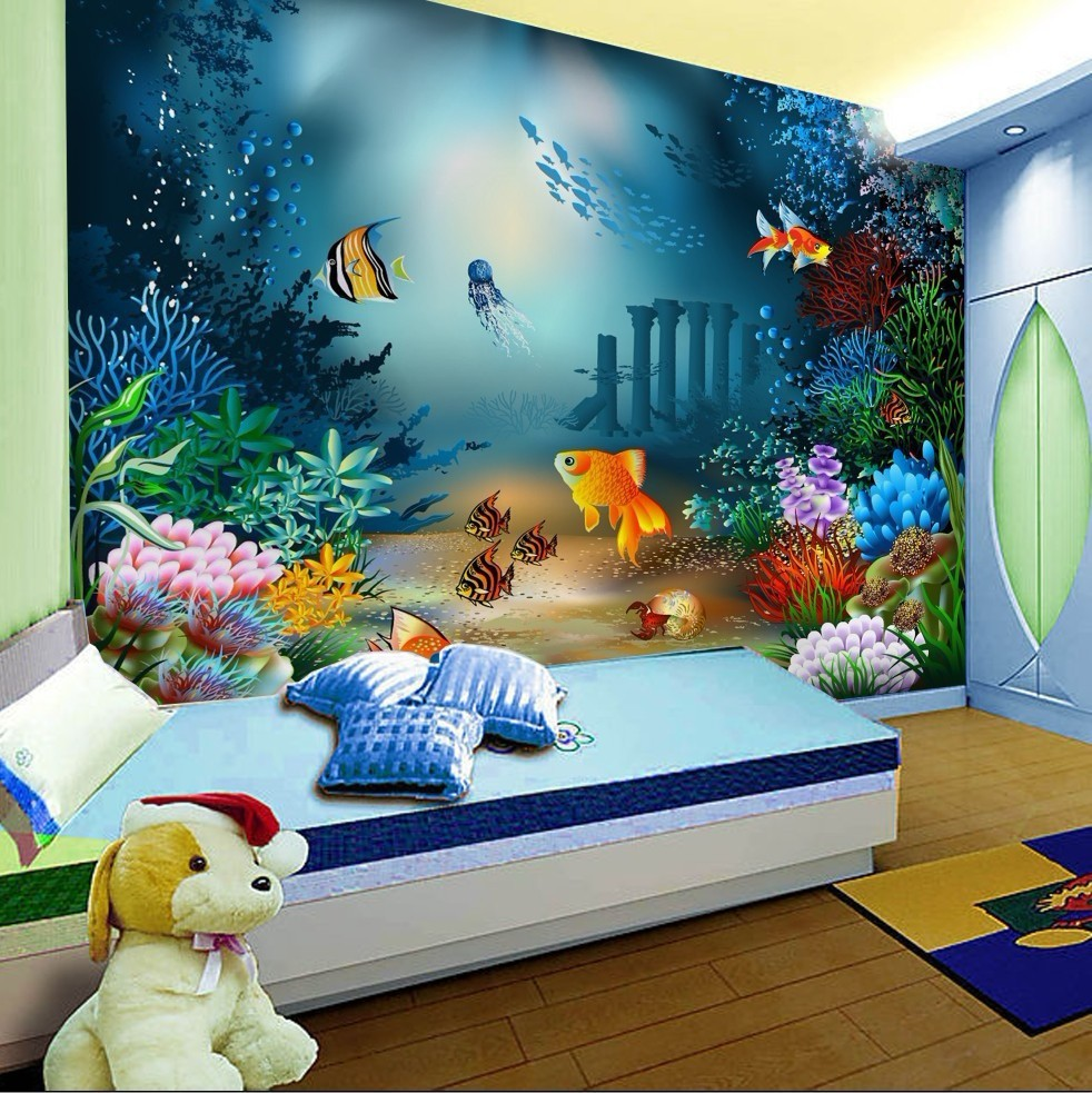 Comkids Rooms Murals : mural / Childrens the Room Bedrooms background undersea fish bedroom ...