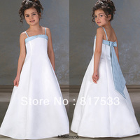 satin dress with beads bridesmaid dresses children's wedding gown spaghetti strap a line stin white and light blue long