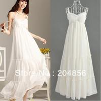 free shipping women's dress white bohemia full dress beach dress spaghetti strap one-piece dress high quality