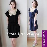 free shipping women's sweet crochet peter pan collar slim waist pocket short-sleeve dress