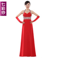 Colorful yarn 2012 red bride wedding dress long design wine formal dress h012