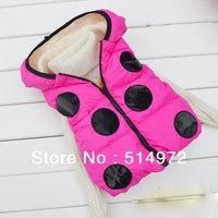 Best Selling!!Wholesale print polka dot baby vest Cute Ladybug kids waistcoat pure cotton children hoodie free shipping