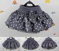 Big Dot New Beautiful Cute Baby Girl Bow A-Line Woolen Skirt Baby Tutu Cake Skirt V7048