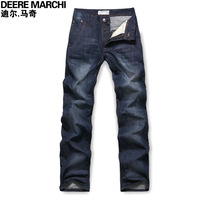 2013 spring men's clothing wearing white straight water wash men's clothing classic denim long trousers 9712