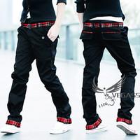 Les t british style plaid roll up hem slim male Men straight casual pants long trousers boys