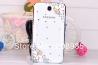 Bling Handmade 3D Flower Diamond Rhinestone Case Back for Samsung Galaxy Note 2 II N7100,retail package+1screen Free shipping
