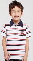 Wholesale 5 pcs summer blue white Children Boy Kids baby striped short sleeve POLO cotton shirt/T-shirt  clothing top PEXZ02P67
