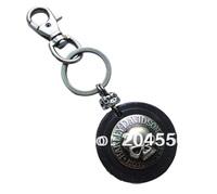 Men's Punk Heavy metal round skull Duty Loop Tool Keeper Holder Leather Keyring keychain k160