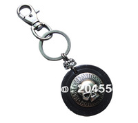 Men's Punk Heavy metal round skull Duty Loop Tool Keeper Holder Leather Keyring keychain k160 --10pcs/lot