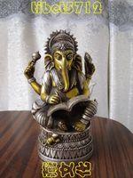 17 cm Tibetan Buddhist bronze coated silver GANESHA INDISCHER GOTT buddha statue