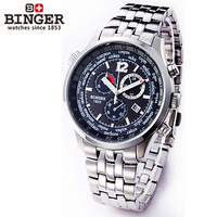 Binger accusative case watch chronograph stainless steel mens watch steel strip black