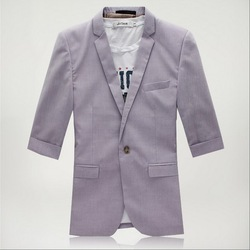 2013 Mens Casual Linen Cotton Suit Jackets for men slim blazer one-button 3/4 sleeve coat outwear 3 colors S-4XL Lfree ship(China (Mainland))