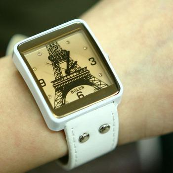 New Square Retro Eiffel Tower Style Rivet Watch Wrist watch Women Girl 5 colours  #L05376