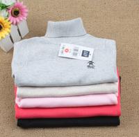 Baby cotton turtleneck 100% basic shirt turn-down collar sweater shirt child ball sweater