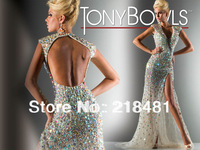 sy-85 2013 Custom Design Popular Hand make  Sexy Split Open Back Beads Crystal Tony Bowls Evening dresses