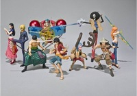 Free shipping 100% brand new Japan anime 9pcs one piece Luffy Zoro Franky Brook Usopp ect group pvc figure toys tall 10cm set.