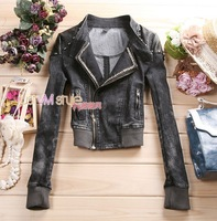 2013 jeans jacket for women_ Demin jacket women_ Locomotive collar inclined zipper jacket cowboy style short coat _free shipping