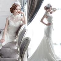 Hot Drop Shipping Ivory Short Trailing Tail Court  Bridal Slim Wedding Dresses 2014 Lace Elegant Tube-top mermaid Wedding Gowns