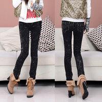 free shipping Female thickening plus velvet legging skinny denim pants plus size pencil pants casual boot cut jeans