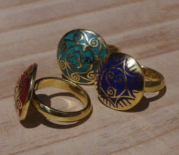 tibetan jewelry R069 Tibetan amulet Chapter round rings, Nepal brass vintage Flower ring,Gossip girl gift(China (Mainland))