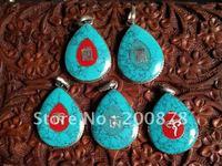 TBP421  TibetanOM mantras amulets pendant,Tibet Drop heart amulet pendants,31*23mm,Ethnic jewelry,mix order