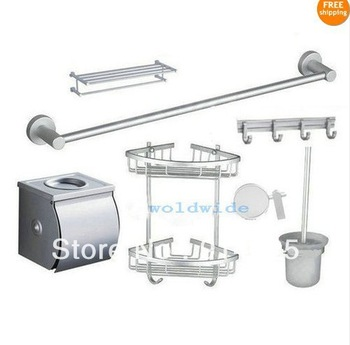 Aluminum Toilet Brush Hook Wall Mounted Towel Rack Shelves& Others 7Pcs Set L9A /freeshipping