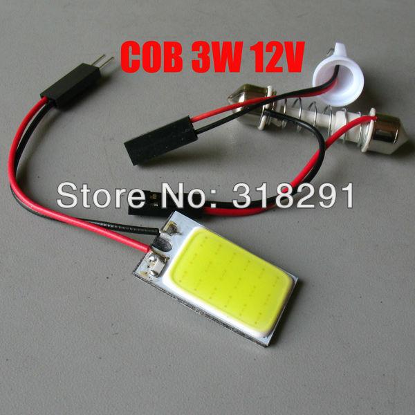 100pcs/lot free shipping Wholesale White 3W COB Chip LED Car Interior Light T10 Festoon Dome Adapter 12V, Car Vehicle LED Panel